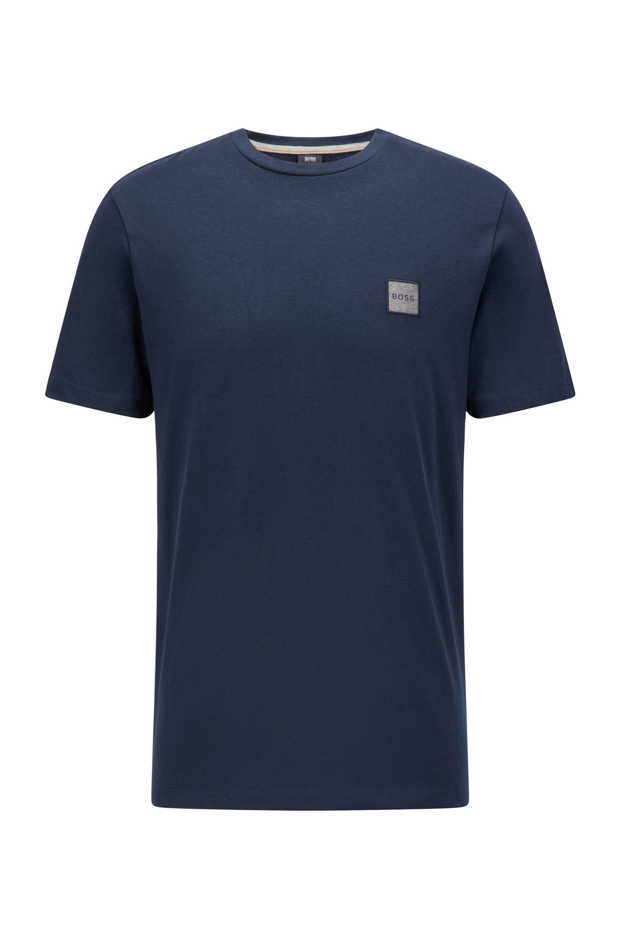 T-shirt a girocollo in cotone biologico con toppa con logo, Blu scuro