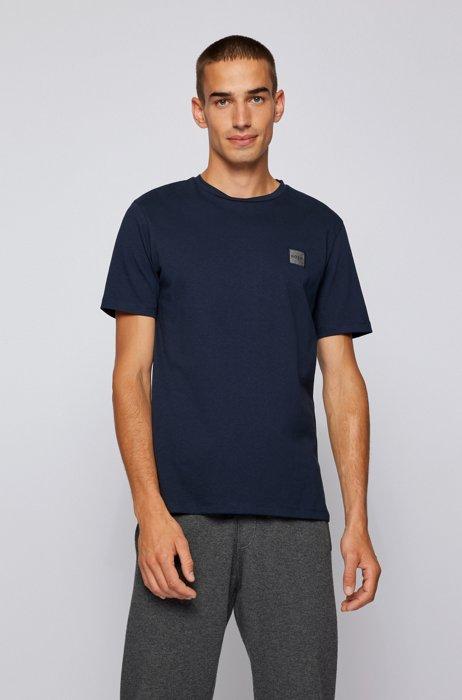 T-Shirt aus Bio-Baumwolle mit Rundhalsausschnitt und Logo-Aufnäher, Dunkelblau