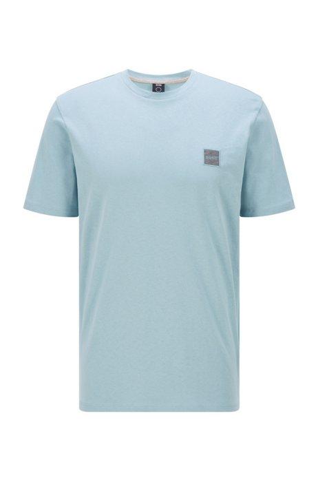 T-shirt a girocollo in cotone biologico con toppa con logo, Celeste