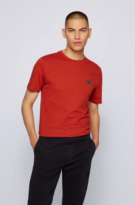 T-shirt a girocollo in cotone biologico con toppa con logo, Rosso