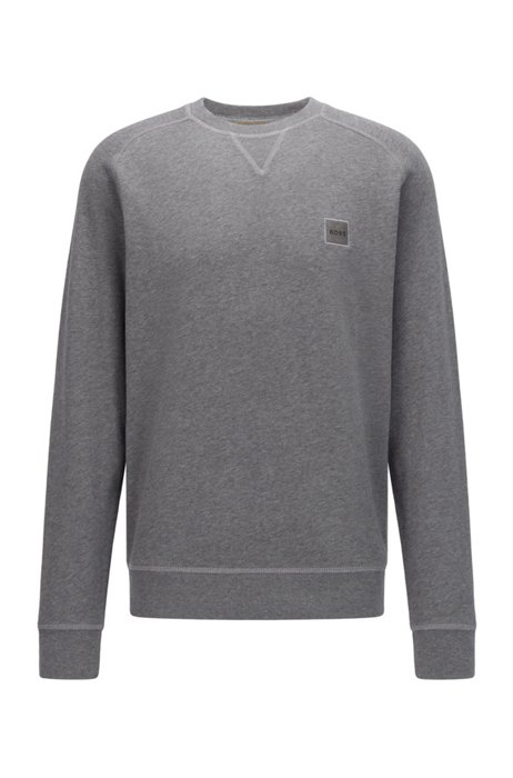 Relaxed-fit sweatshirt with melange logo patch, Silver