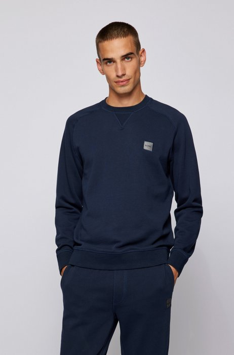 Relaxed-fit sweater met gemêleerde logopatch, Donkerblauw
