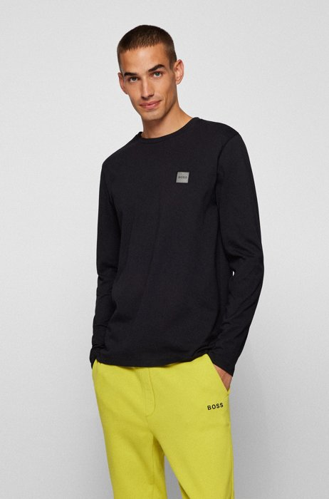 Long-sleeved T-shirt in organic cotton with logo patch, Black