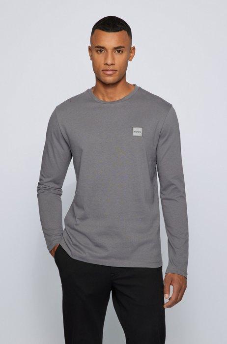 T-shirt van biologische katoen met lange mouwen en logopatch, Donkergrijs