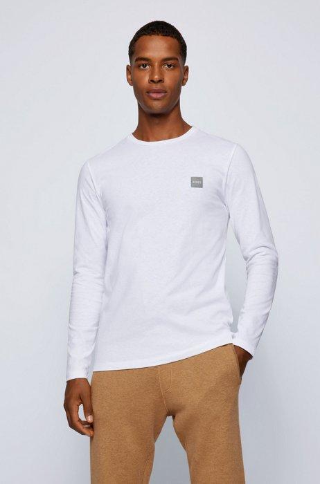 T-shirt van biologische katoen met lange mouwen en logopatch, Wit
