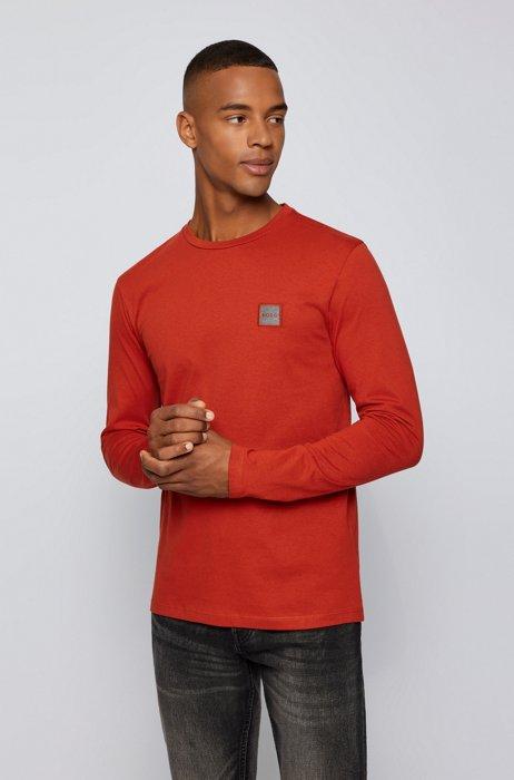 T-shirt van biologische katoen met lange mouwen en logopatch, Rood
