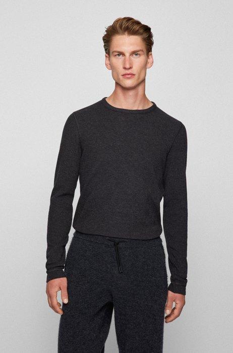 Slim-fit T-shirt met lange mouwen en gemêleerde logopatch, Zwart