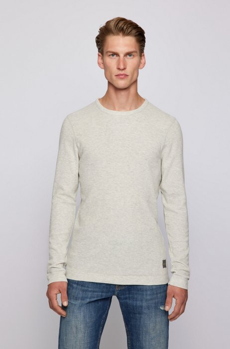 Long-sleeved slim-fit T-shirt with melange logo patch, White