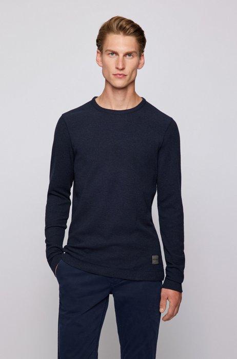 Long-sleeved slim-fit T-shirt with melange logo patch, Dark Blue