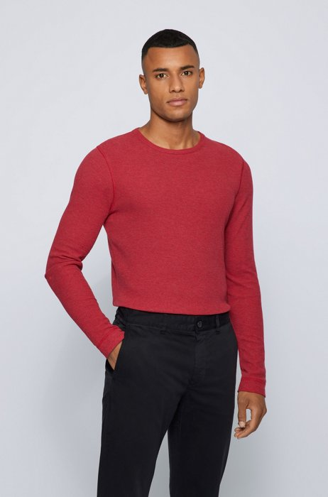 Long-sleeved slim-fit T-shirt with melange logo patch, Red