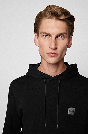 混色徽标饰片法式毛圈布连帽运动衫,  001_Black