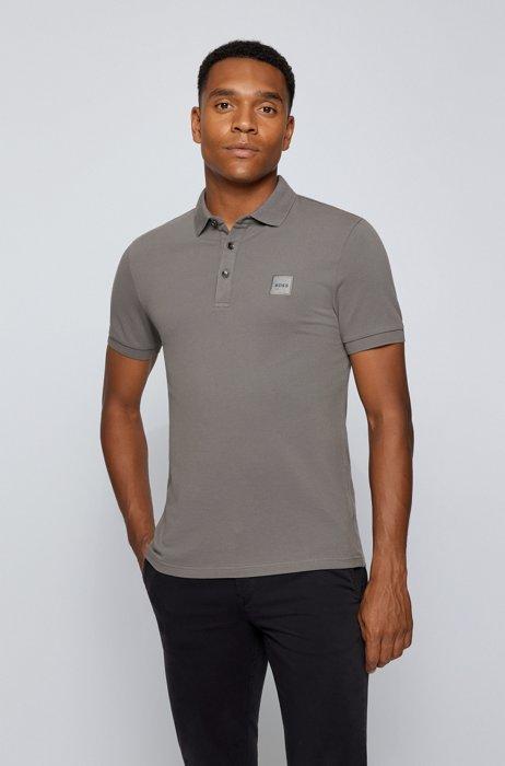 Slim-fit polo shirt in stretch-cotton piqué, Dark Grey