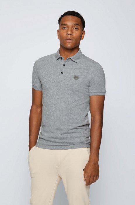 Slim-fit polo shirt in stretch-cotton piqué, Light Grey