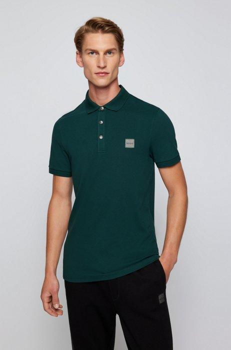 Slim-fit polo shirt in stretch-cotton piqué, Dark Green