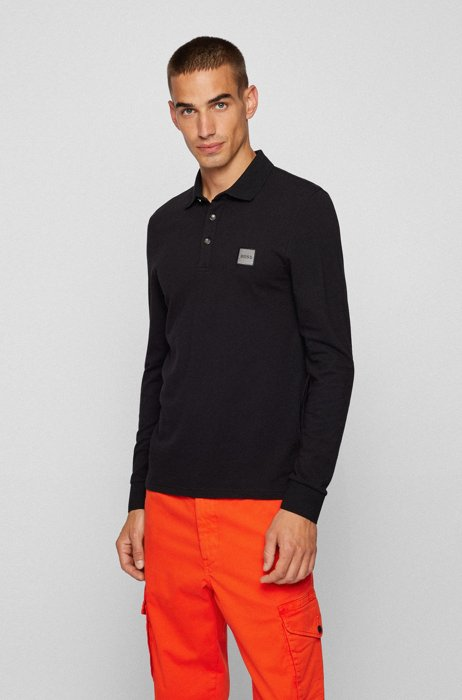 Slim-fit long-sleeved polo shirt with logo badge, Black