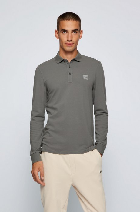 Slim-fit long-sleeved polo shirt with logo badge, Grey