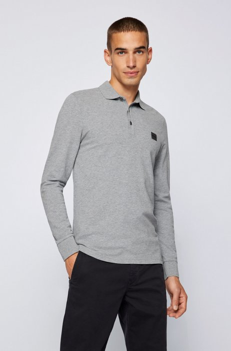 Slim-fit long-sleeved polo shirt with logo badge, Light Grey