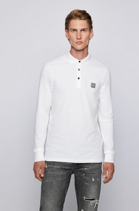 Slim-fit long-sleeved polo shirt with logo badge, White