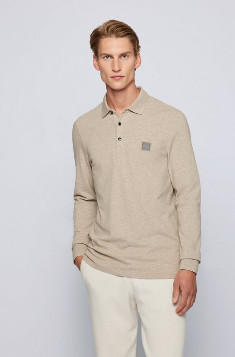 Slim-fit long-sleeved polo shirt with logo badge, Light Brown
