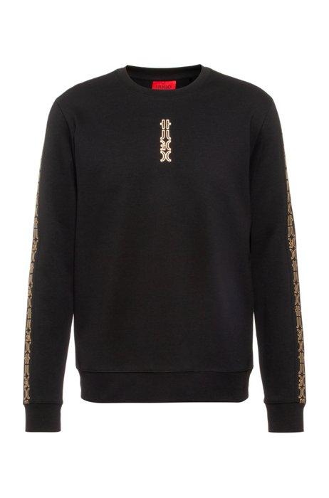 Sweater van interlocked katoen met afgesneden logodetails, Zwart