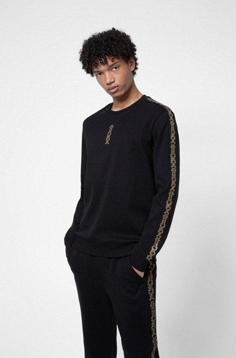 Interlock-cotton sweatshirt with cropped-logo trims, Black
