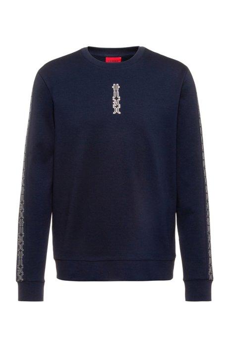 Interlock-cotton sweatshirt with cropped-logo trims, Dark Blue