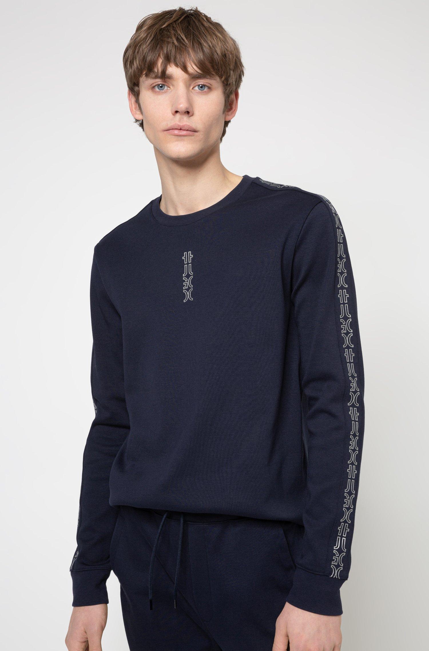 Sweat en coton interlock avec finitions à logo revisité, Bleu foncé
