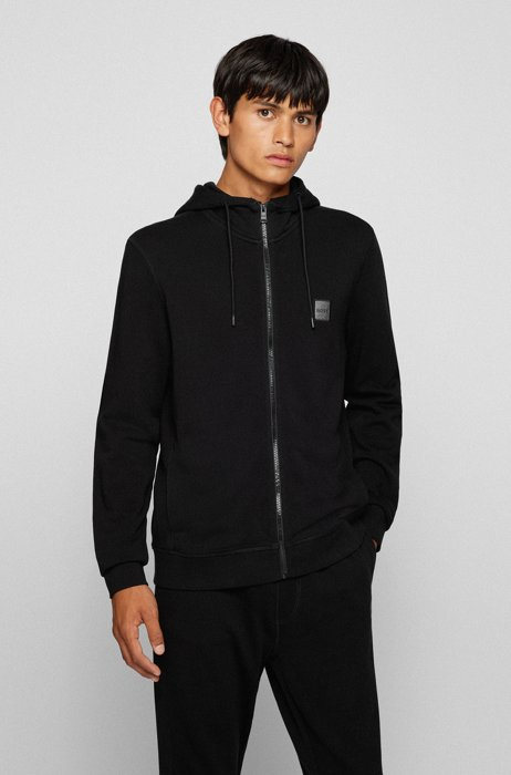Relaxed-fit hoodie in French terry with logo patch, Black
