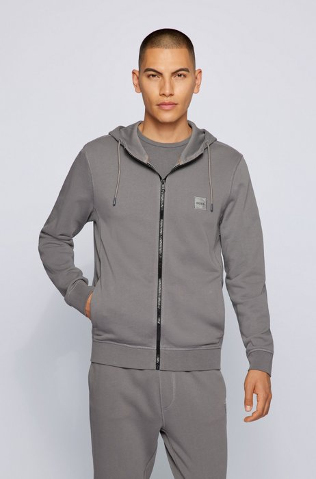 Relaxed-fit hoodie in French terry with logo patch, Dark Grey