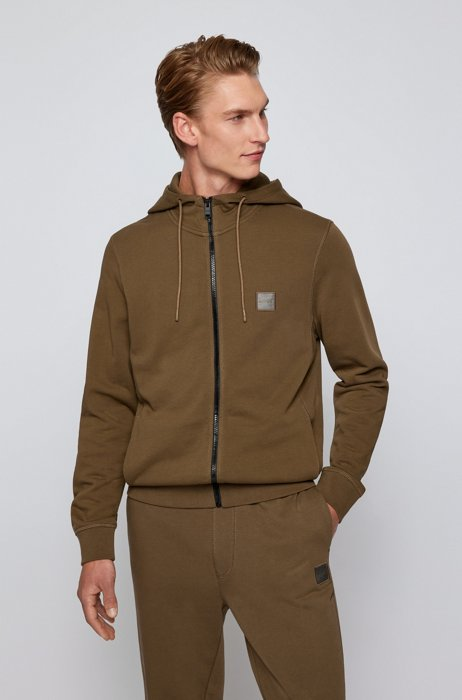 Relaxed-fit hoodie in French terry with logo patch, Dark Green