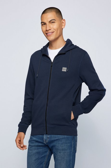Relaxed-fit hoodie in French terry with logo patch, Dark Blue