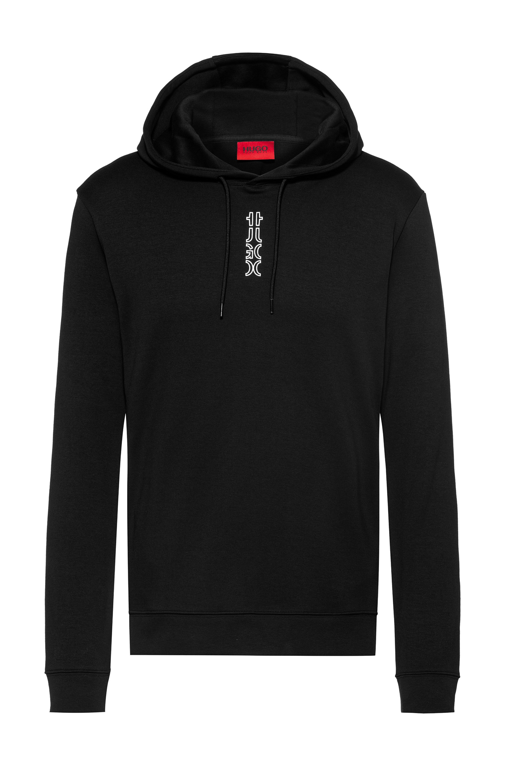 Interlock-cotton hooded sweatshirt with cropped logo, Black