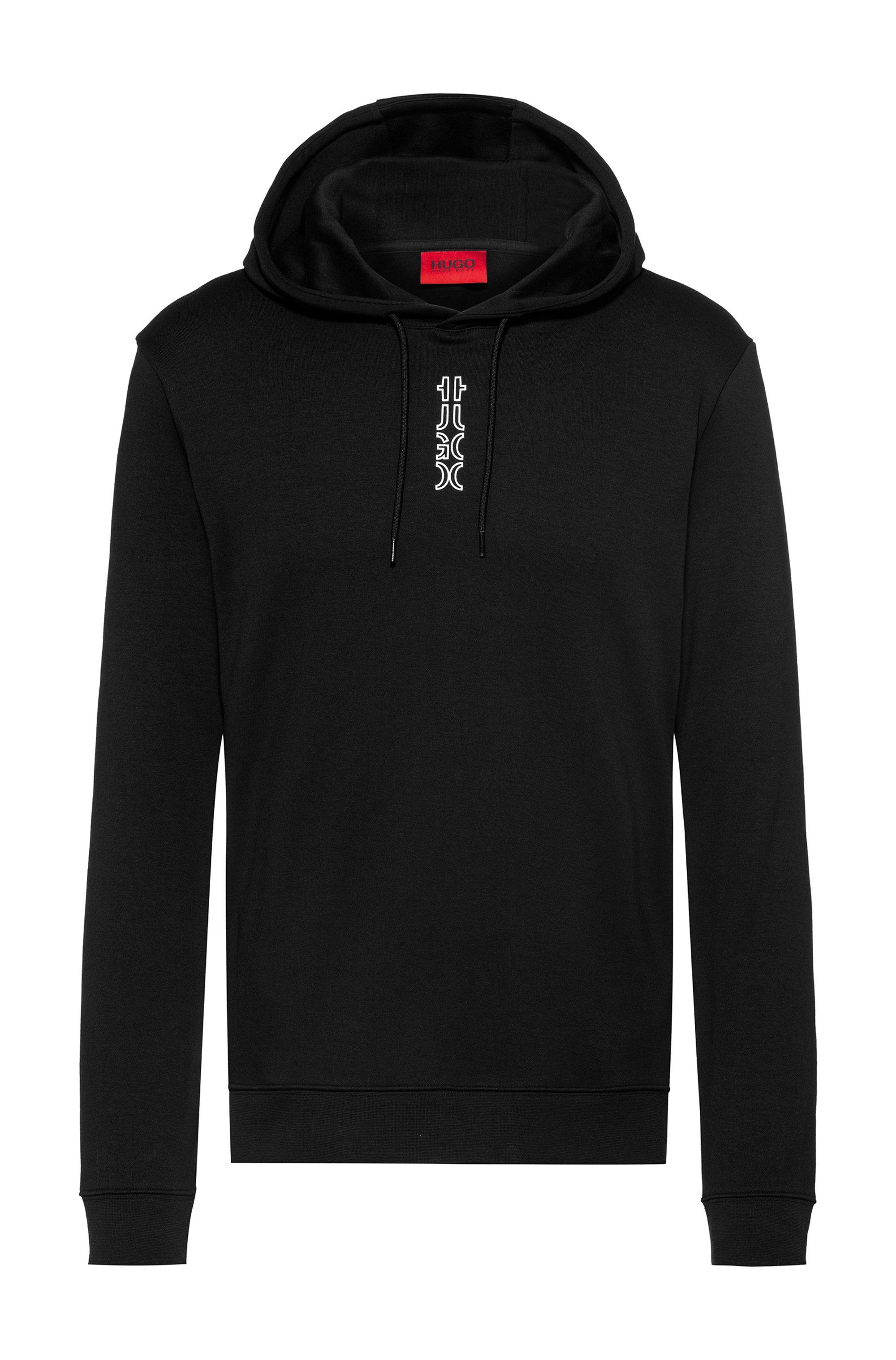Interlock-cotton hooded sweatshirt with cropped logo, Noir