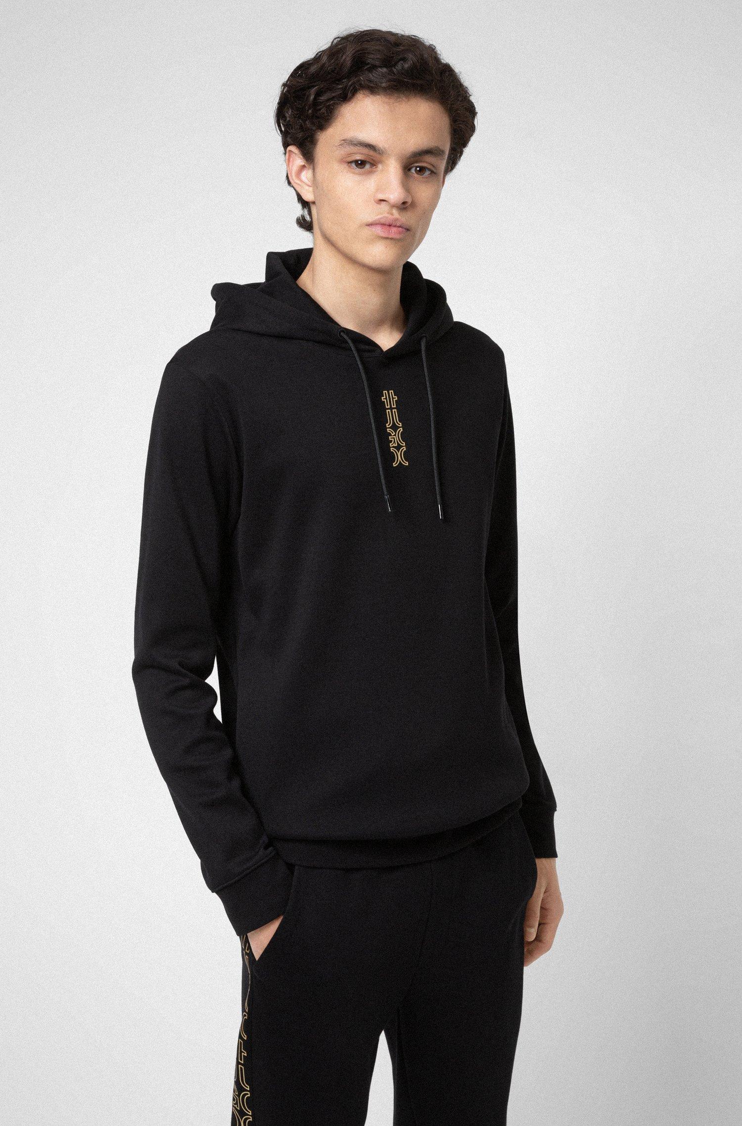 Sweat à capuche en coton interlock avec logo revisité, Noir