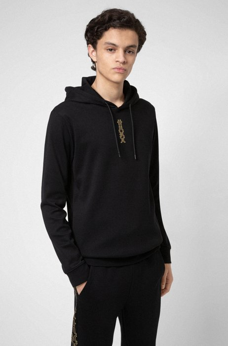 Interlock-cotton hooded sweatshirt with cropped logo, Black