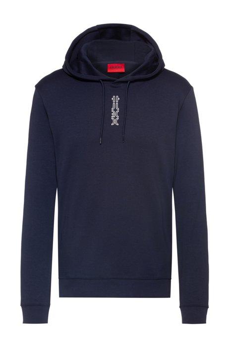 Sweater van interlocked katoen met capuchon en afgesneden logo, Donkerblauw