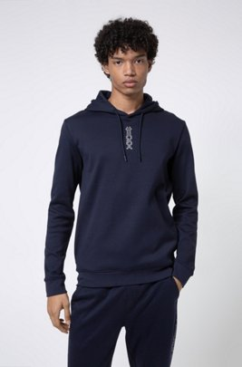 Interlock-cotton hooded sweatshirt with cropped logo, Bleu foncé