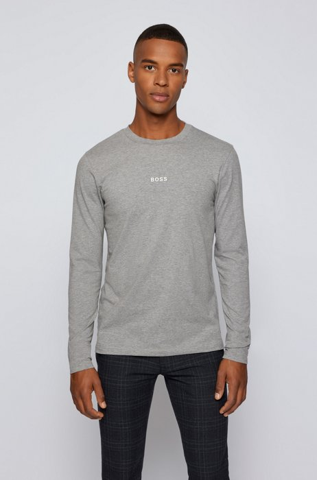 Long-sleeved stretch-cotton T-shirt with five-layer logo, Light Grey