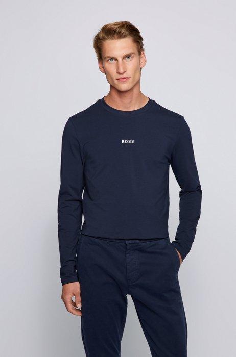 T-shirt van stretchkatoen met lange mouwen en vijflaags logo, Donkerblauw