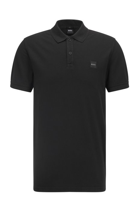 Slim-fit polo shirt with salt-washed finish, Black