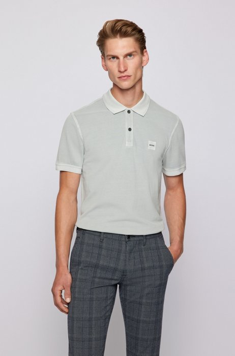Slim-fit polo shirt with salt-washed finish, Light Grey