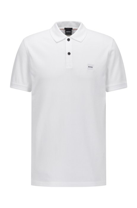 Slim-fit polo shirt with salt-washed finish, White