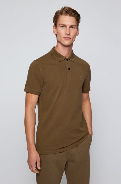 Slim-fit polo shirt with salt-washed finish, Dark Green