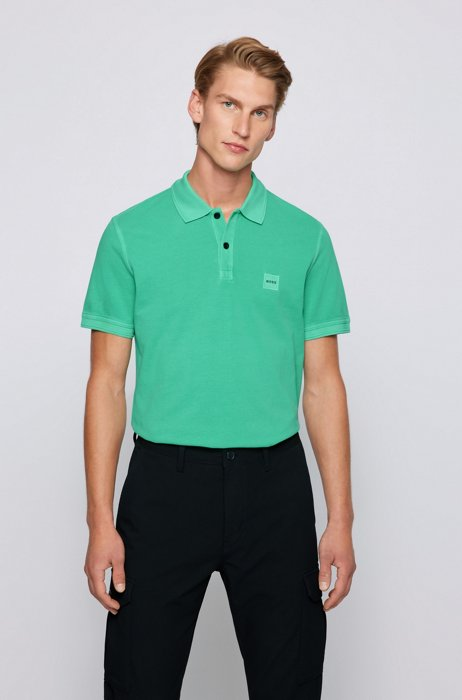 Slim-fit polo shirt with salt-washed finish, Light Green