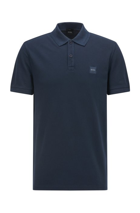 Slim-fit polo shirt with salt-washed finish, Dark Blue