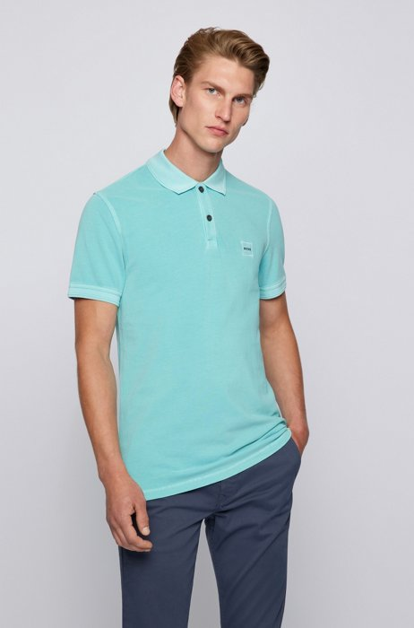 Slim-fit polo shirt with salt-washed finish, Turquoise