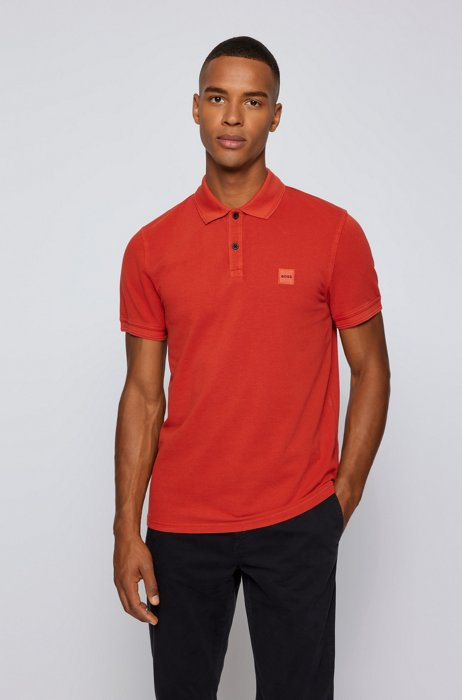 Slim-fit polo shirt with salt-washed finish, Red