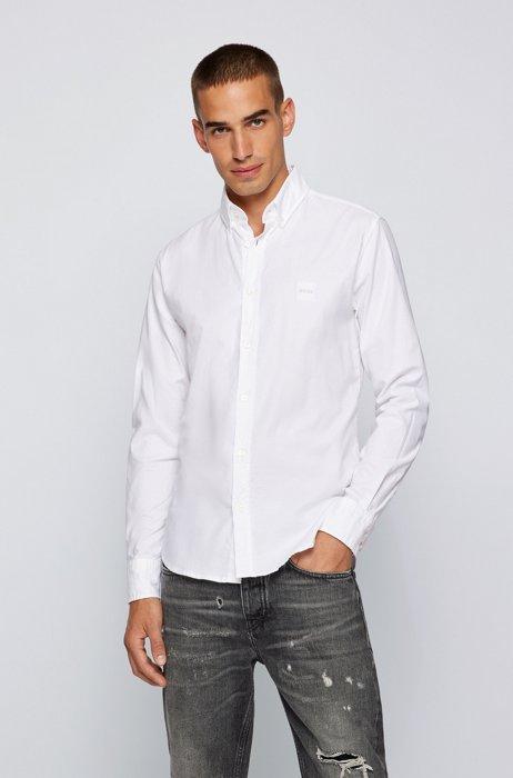 スリムフィットシャツ ストレッチコットン ロゴパッチ, ホワイト