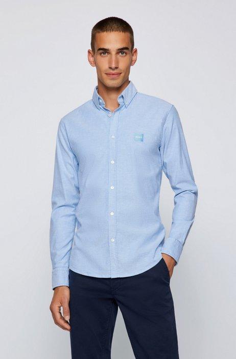 Chemise Slim Fit en coton stretch à patch logo, bleu clair