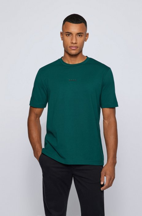 Relaxed-fit T-shirt in stretch cotton with logo print, Dark Green